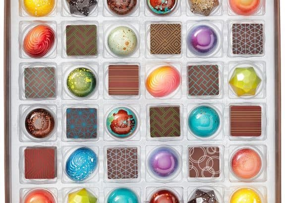 Box of Christopher Elbow hand-painted chocolates